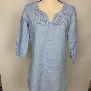 Malvin Blue 100% Linen Tunic Blouse Medium